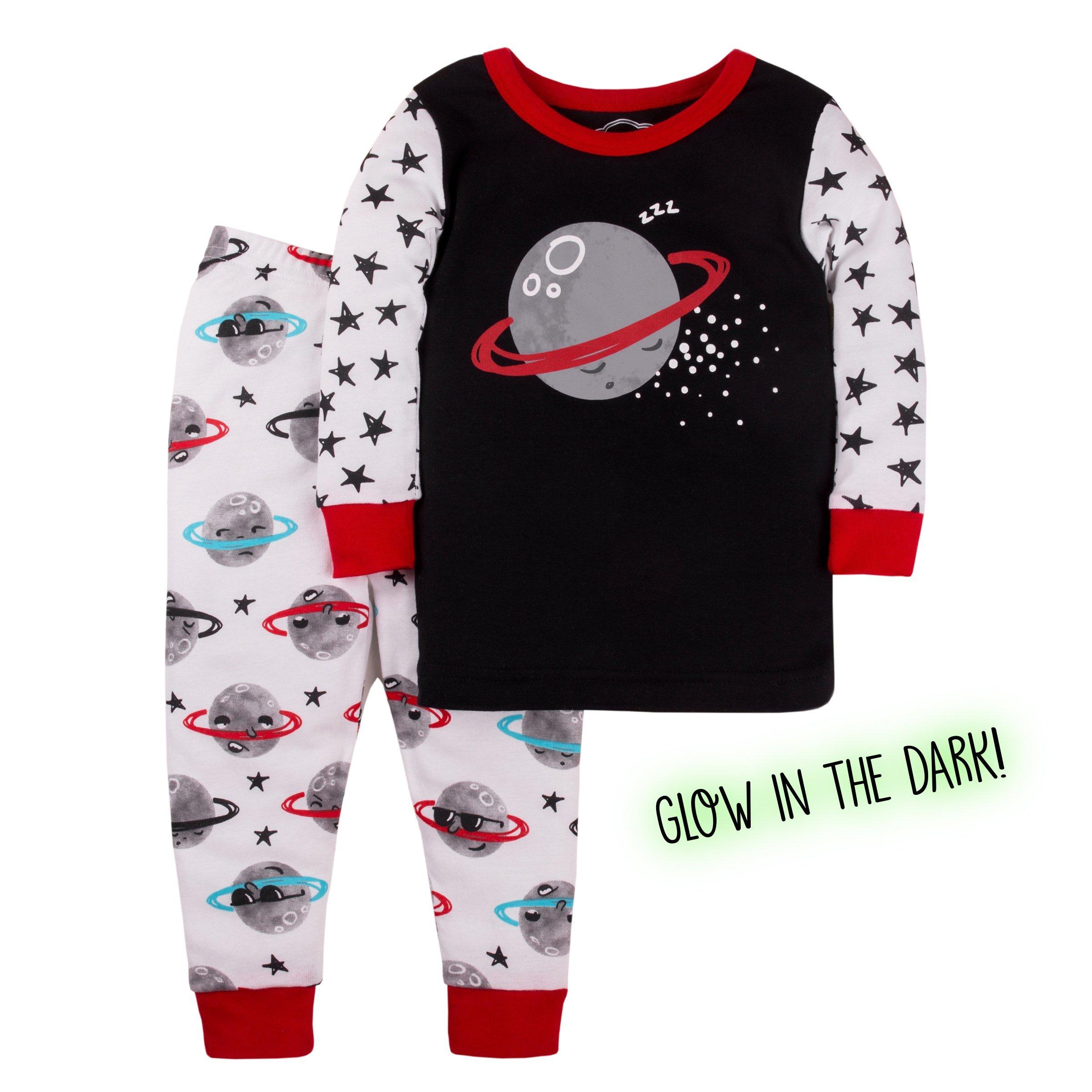 Lamaze Toddler Boys' Organic 2 Piece Longsleeve Tight Fit Pajamas Set, Black Moon, 3T