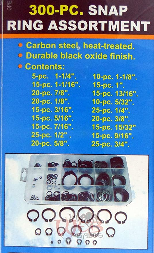 """300pc Snap Ring Assortment 18 Sizes Retaining Rings 1//8/"""" to 1-1//4/"""""""