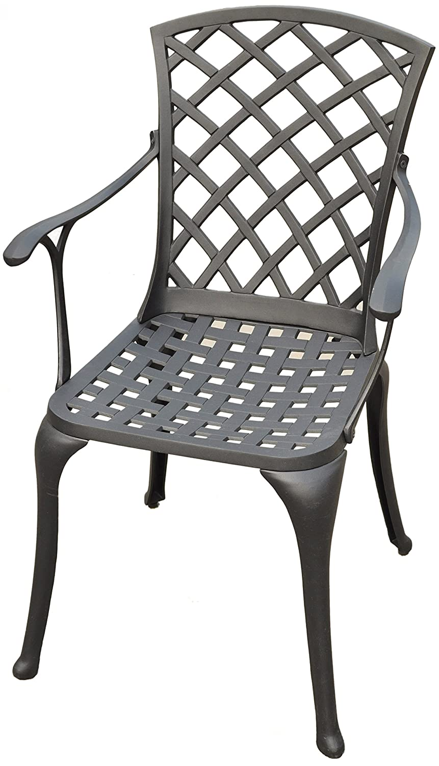 Crosley Furniture Sedona Solid-Cast Aluminum Outdoor High-Back Arm Chair - Black (Set of 2)