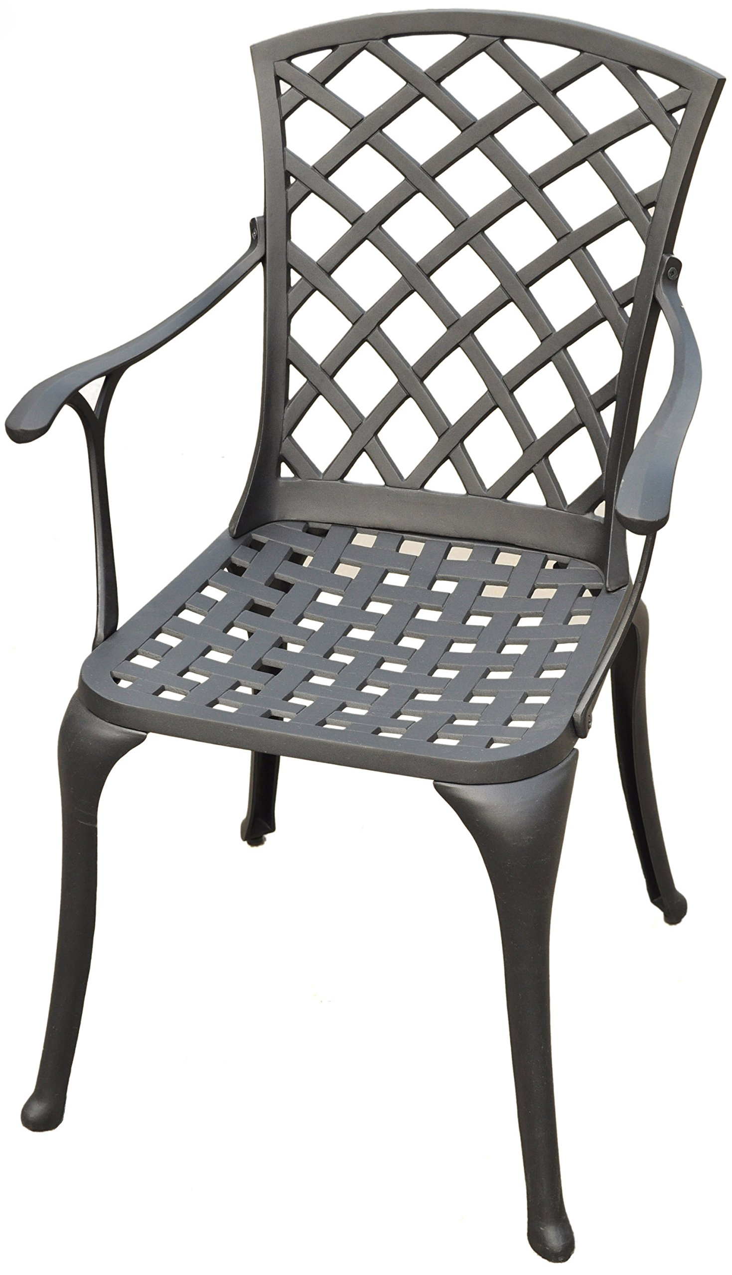 Crosley Furniture Sedona Solid-Cast Aluminum Outdoor High-Back Arm Chair - Black (Set of 2)