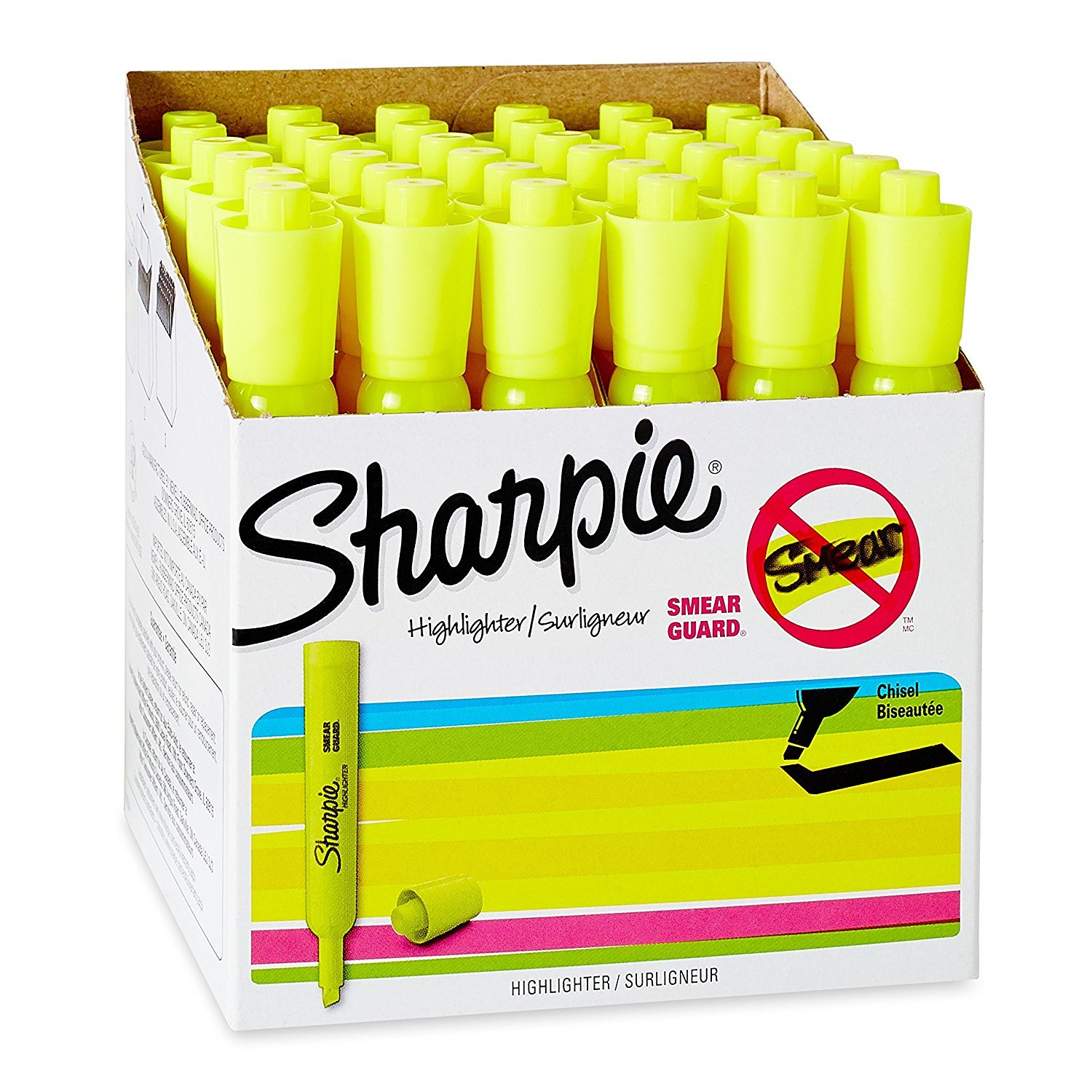 3 x Sharpie Chisel Tip Tank Style Highlighter, Fluorescent Yellow - Pack of 36