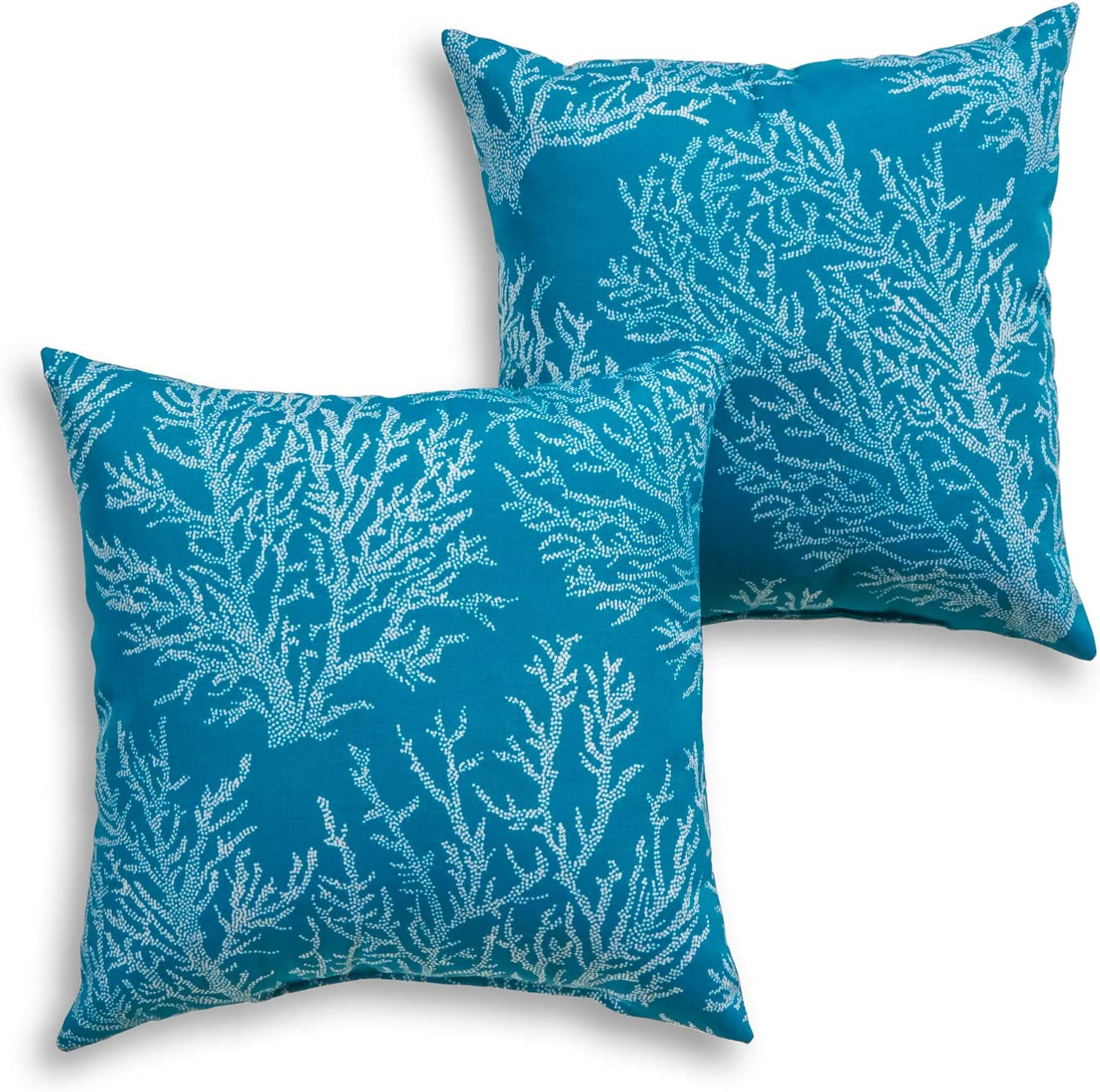 Blue South Pine Porch AM4803S2-SEACORAL Sea Coral Outdoor 17-inch Square Accent Pillow Set of