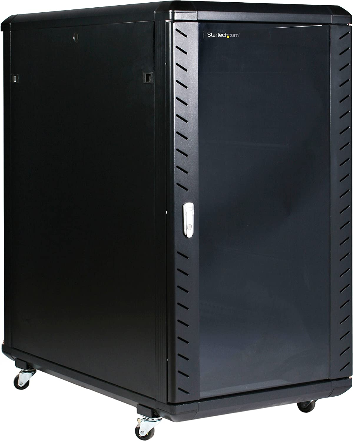"StarTech.com 22U Server Rack Cabinet with secure locking door - 4 Post Adjustable Depth (5.5"" to 28.7"") - 1768 lb capacity - 19 inch Portable Network Equipment Enclosure on wheels/casters (RK2236BKF)"
