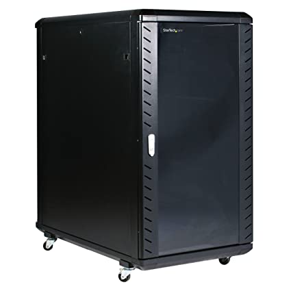 Startech Com 22u Server Rack Cabinet On Wheels 36 Inch Adjustable Depth Portable Network Equipment Enclosure Rk2236bkf