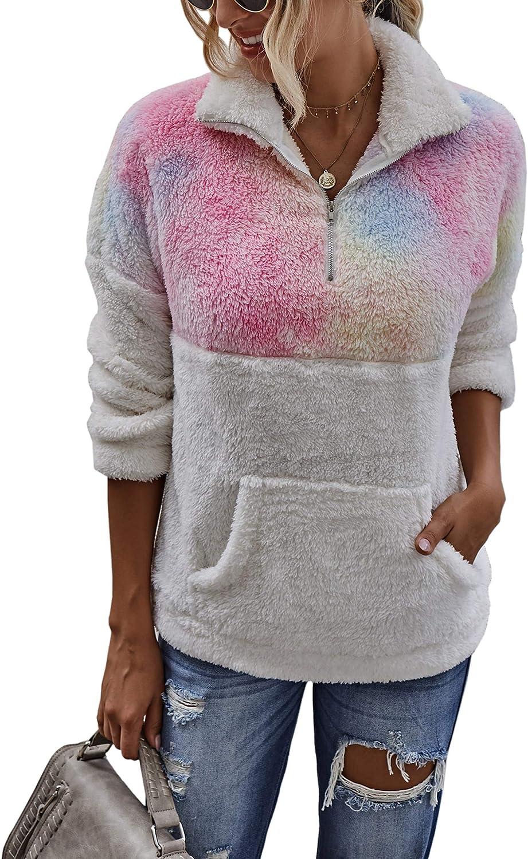 CinShein Womens Coat Winter Tie Dye Long Sleeve Lapel Pullover Half Zip Up Warm Fuzzy Fleece Casual Sweater Tops with Pocket