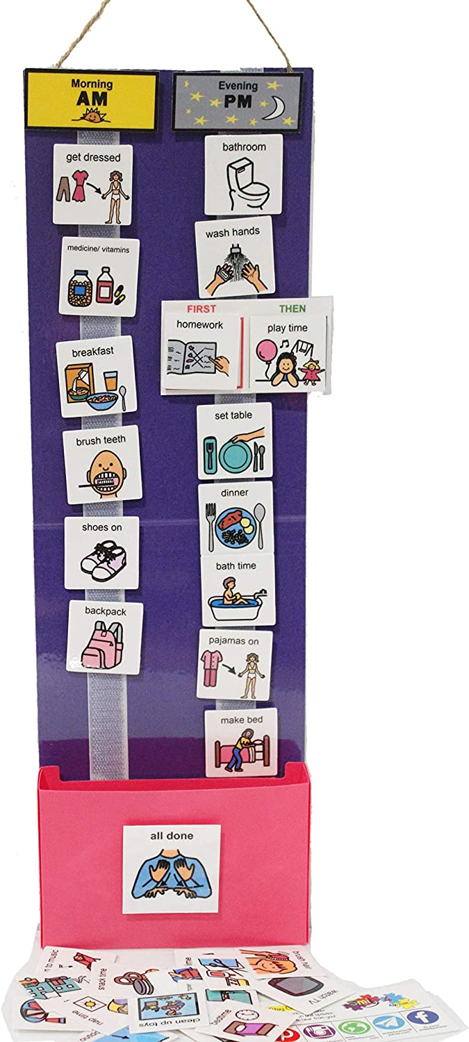 Two Strip Night and Day, First-Then Daily Schedule Great Behavior Visual Tool for Independence and Structure at Home, School, and in The Community. (Purple/Pink, Girl Home (30 Cards))