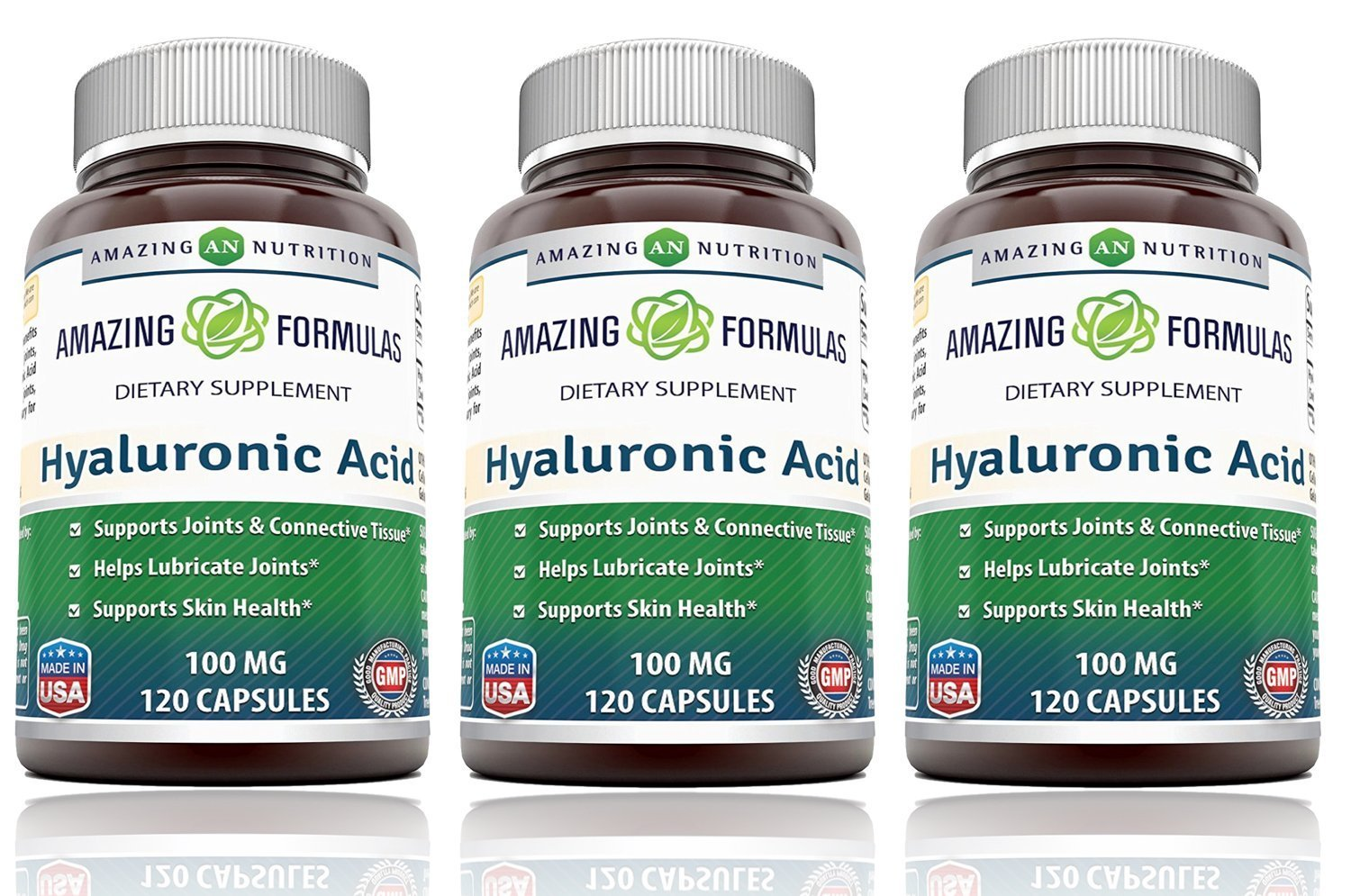Amazing Formulas Hyaluronic Acid 100 mg Capsules (Non-GMO) - Support Healthy Connective Tissue and Joints - Promote Youthful Healthy Skin (120 Count (Pack of 3))