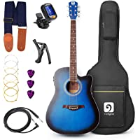 Vangoa - 41inch Full-Size VG-41ECBL Blue Acoustic Electric Cutaway Guitar with Guitar Gig Bag, Strap, Tuner, String, Picks, Capo
