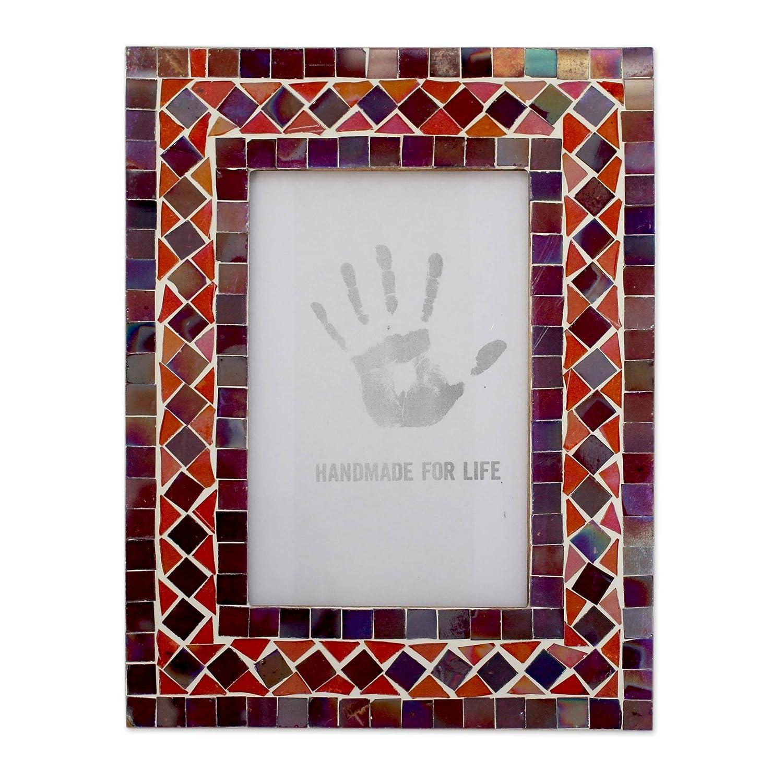 4 X 6 4 X 6 225448 NOVICA Lilac Coral Glass Mosaic Photo Frame