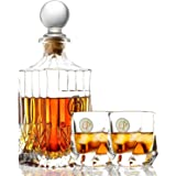 Lovinpro Crafted Whiskey Decanter Set Whisky Glass Set Elegant Whiskey Decanter with Ornate Stopper and 2 Piece of Twist Whiskey Glasses