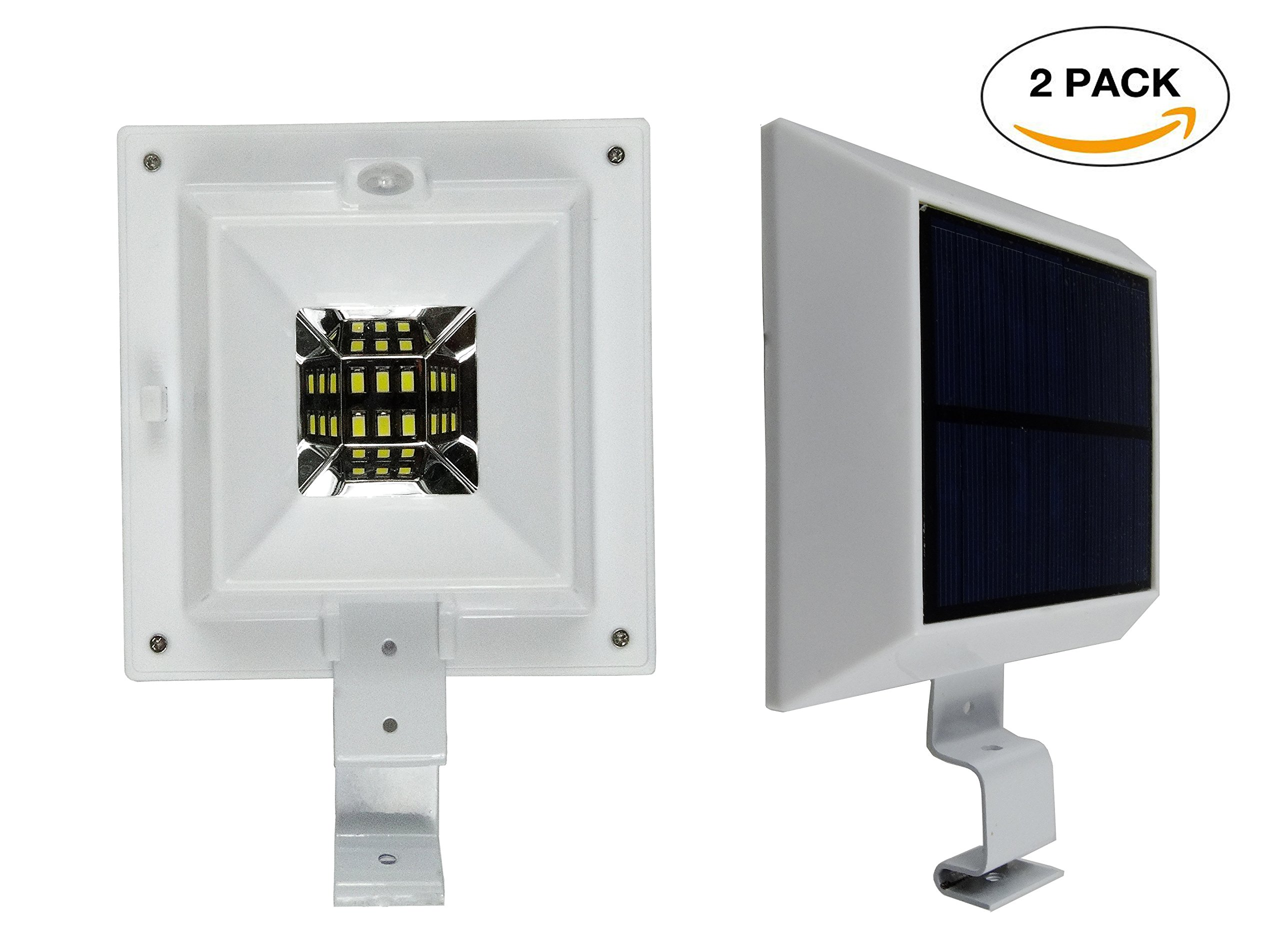 Solar Lights Outdoor 6 LED PIR Motion Sensor Wall Light Outdoor Waterproof Security Light Patio Deck Lights with Bracket Cool White 2 Packs