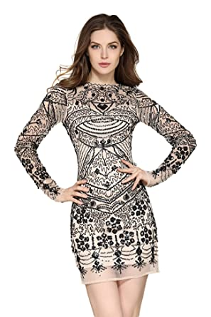 228e1a8edab VVMCURVE Women s Mesh Sequin Embroidery Slim Long Sleeve Party Club Dress  (Small