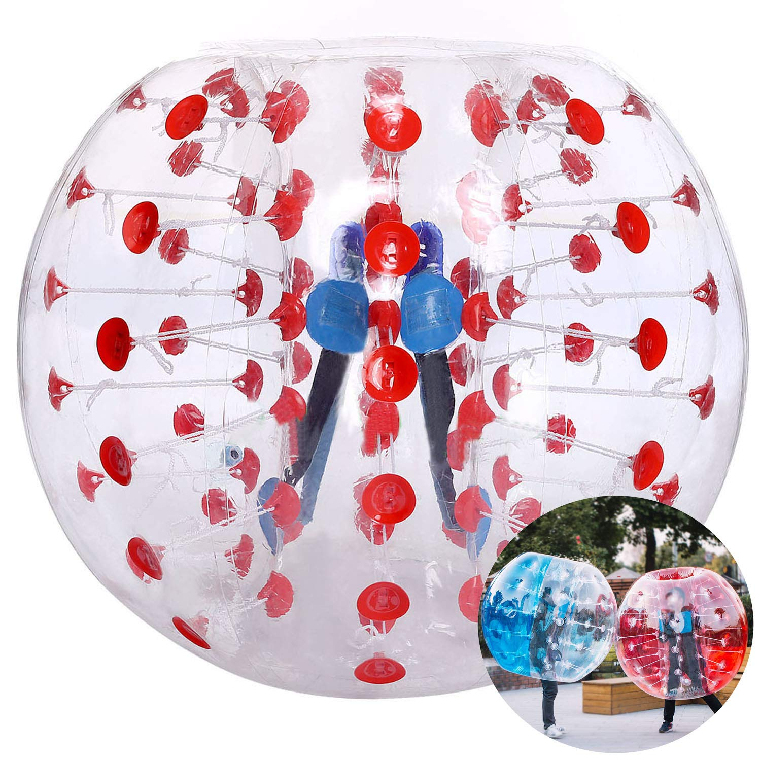 Inflatable Bumper Bubble Soccer Ball, Giant Human Hamster Ball Knocker Ball for Adults & Teens, Body Bumper Dia 4ft/5 ft(1.2m/1.5m) with Repair kit[US Stock]