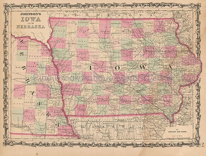 Nebraska Iowa Antique Map Johnson 1862 Original Decor History ...
