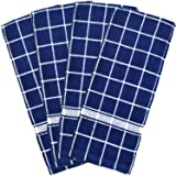"DII Cotton Terry Windowpane Dish Towels, 16 x 26"" Set of 4, Machine Washable and Ultra Absorbent Kitchen Bar Towels-Nautical Blue Check"