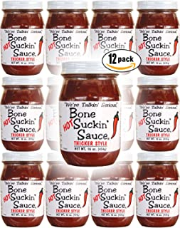 """product image for Bone Suckin' Sauce HOT-Thicker Style, """"We're Talkin' Serious"""", 16oz Glass Jar (Pack of 12, Total of 192 Oz)"""