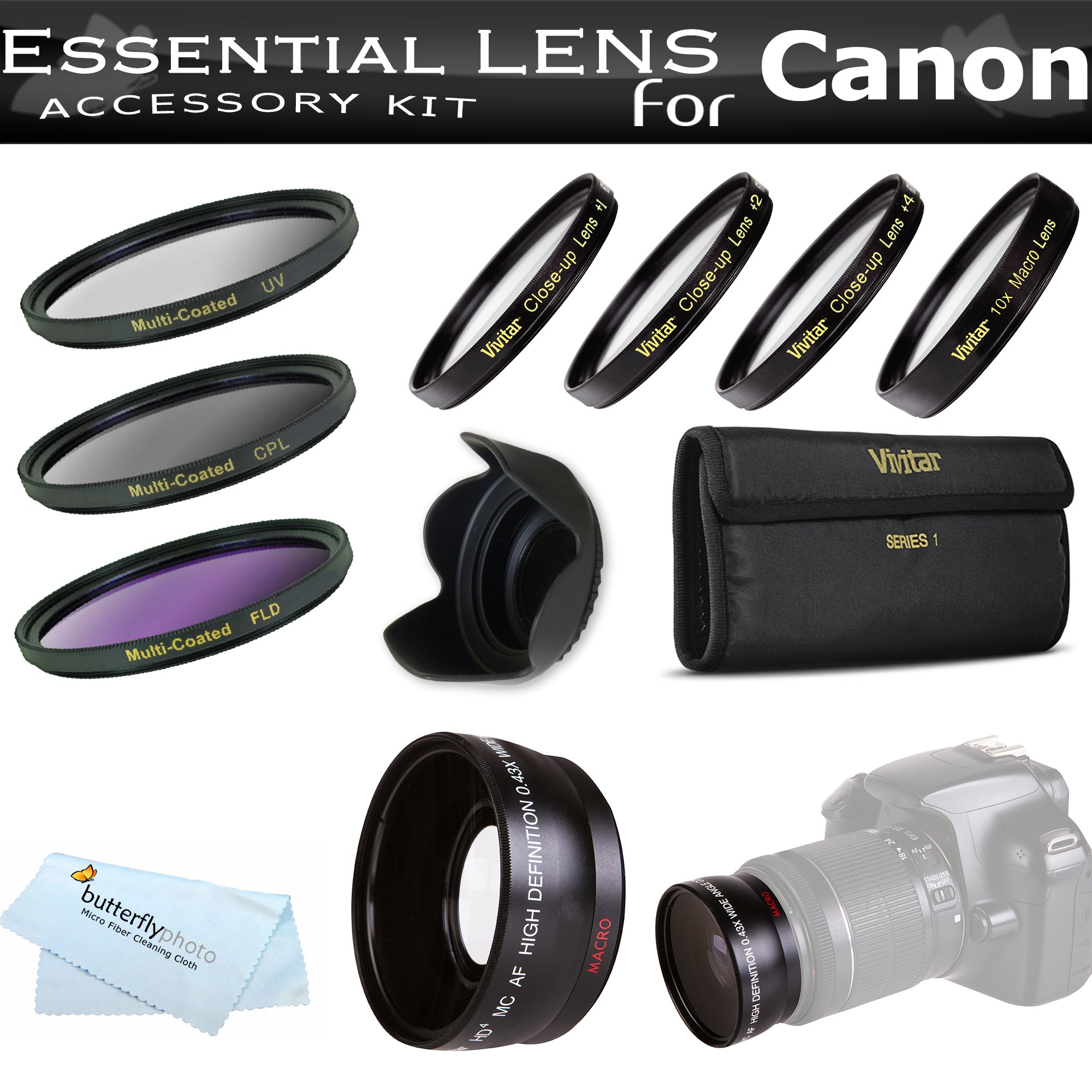 Essential Lens Kit For The Canon SX30IS SX30 IS SX40HS SX40 HS Digital Camera Includes HD .43x Wide Angle Lens + 52MM Close Up Lens Kit Includes +1 +2 +4 +10 + 3pc High Res Filter Kit (UV-CPL-FLD) + Lens Hood + MicroFiber Cleaning Cloth by ButterflyPhoto