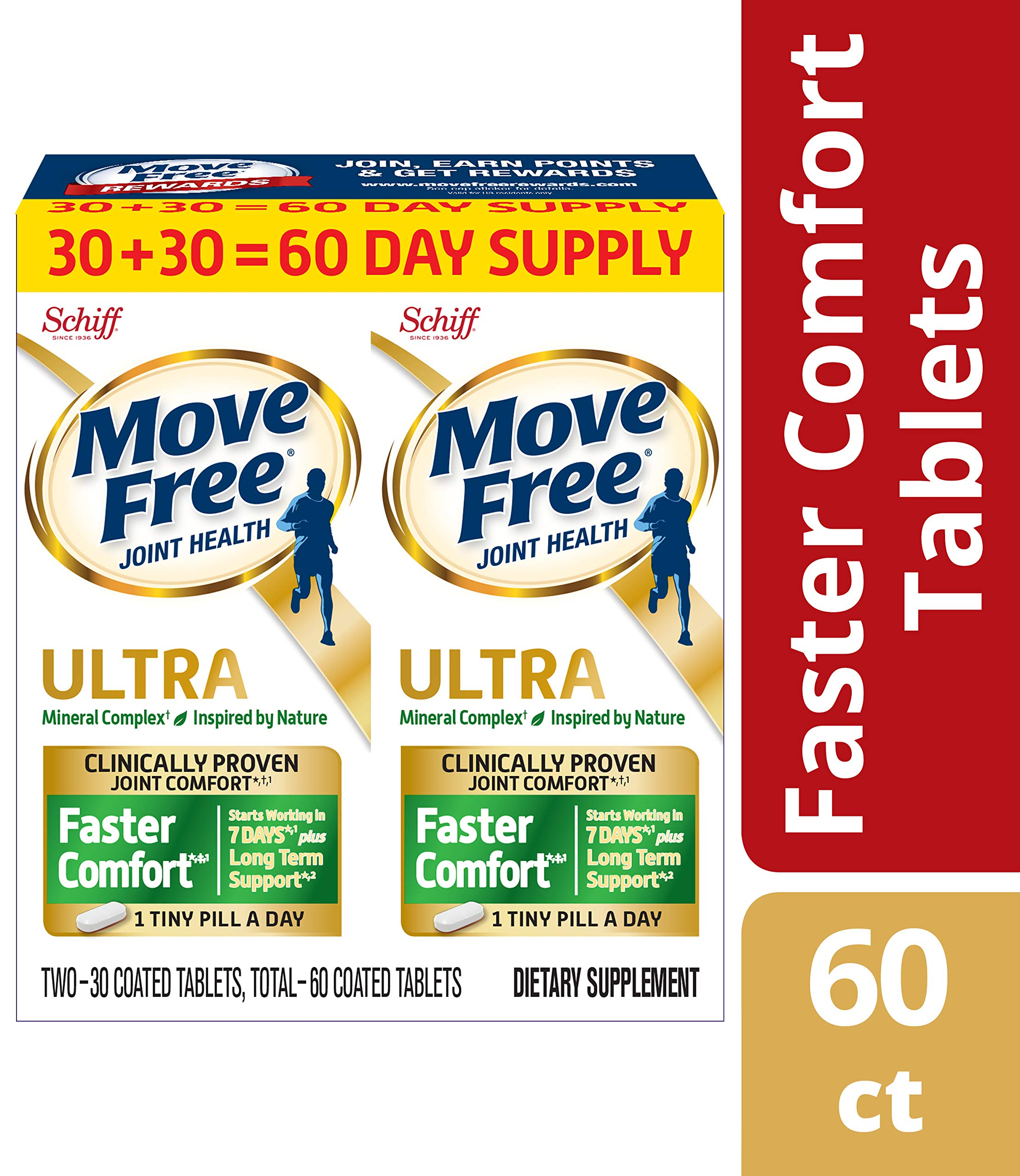 Calcium & Calcium Fructoborate Based Ultra Faster Comfort Joint Health Supplement Tablets, Move Free (60 count in a bottle), Clinically Proven Joint Comfort in 1 Tiny Pill A Day (Packaging May Vary) by Move Free