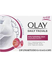 OLAY Daily Facial Hydrating Cleansing Cloths with Grapeseed Extract, Makeup Remover 33