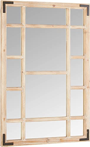 Stone Beam Vintage Wooden Grid Wall Mirror