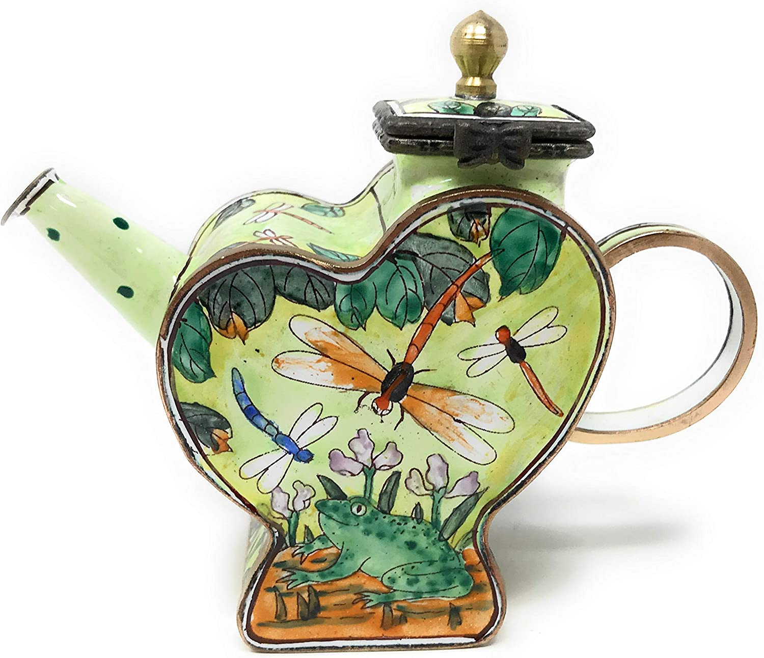 Kelvin Chen Dragonflies and Frog Enameled Miniature Heart Teapot with Hinged Lid, 4.25 Inches Long