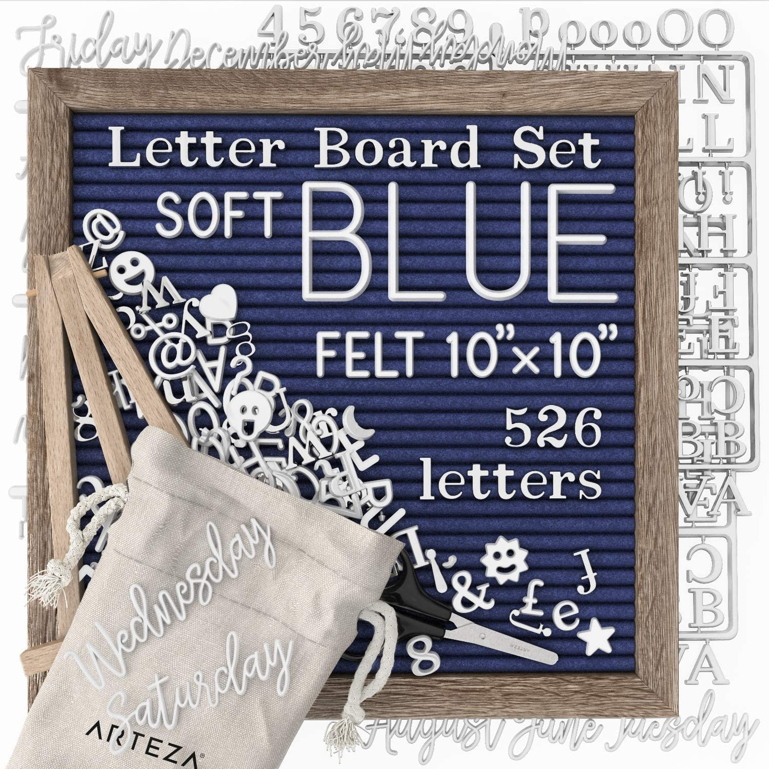 ARTEZA Blue Felt Letter Board Set, 10x10 Inches, with 526 Changeable Letters, 164 Symbols, 33 Cursive Words, Wooden Stand, Scissors & Storage Bag, Message Board for Signs, Decor & Menus