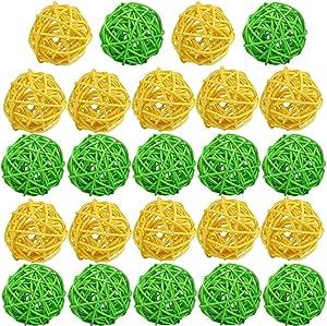 STMK 24 Pcs 2 Inch Rattan Balls Decorations, Wicker Balls Decorative for Home Decor DIY Vase Bowl Filler Ornament Baby Room Nursery Décor Wedding Table Decoration (Yellow & Green)