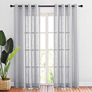 "NICETOWN Linen Textured Sheer Curtains - Grommet Natural Country Style Voile Curtain Panels 84 Inches Long for Living Room / Bedroom (Light Gray, 1 Panel = 52"" W, 1 Pair)"