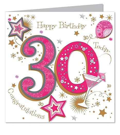 Large luxury handmade 30th birthday card female amazon large luxury handmade 30th birthday card female bookmarktalkfo Images
