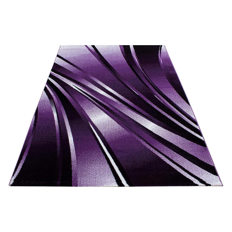 Teppiche modern Design Rechteckig Kurzflor Pflegeleicht Abstrakt Wellen Lila, Maße 200x290 cm