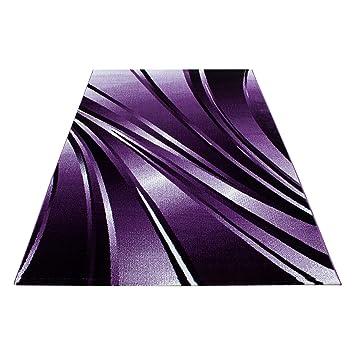 Tapis Moderne Designer Salon Abstrait Vagues motifs noir ...