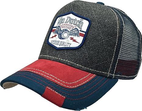 Von Dutch 255 Quilt Trucker Hat Baseball Mesh Cap with Logo Patch Shield  Marroon Quilt ( 24448bce2085