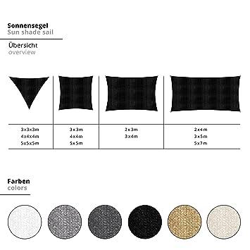 Lumaland toldo Vela de Sombra 100% Polietileno de Alta Densidad Filtro UV Incl Cuerdas Nylon 3x3x3 Crema