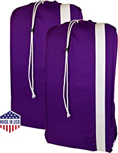 Nylon Laundry Bags with Shoulder Strap-30 X40, Machine Washable (Purple)