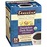 Teeccino Dandelion Tea – Dark Roast - Roasted Herbal Tea | Organic Roasted Dandelion Root | Prebiotic | Caffeine Free…