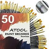 Paint Brush Set, Premium Nylon Hair Brushes for Acrylic Oil Watercolor Painting Artist Professional Painting Kits, Upgraded Galaxy Black 50 Pcs, 5 Pack (Color: Galaxy Black, Tamaño: 50pcs)