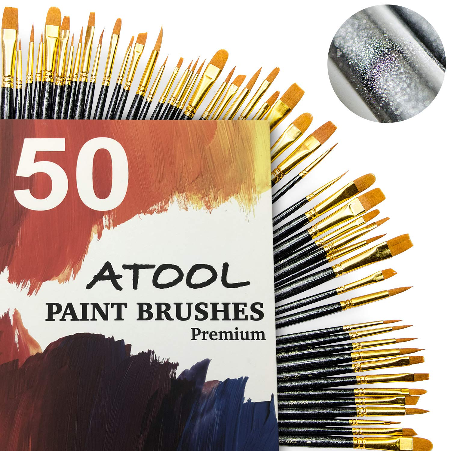Paint Brush Set, Premium Nylon Hair Brushes for Acrylic Oil Watercolor Painting Artist Professional Painting Kits, Upgraded Galaxy Black 50 Pcs, 5 Pack by ATool