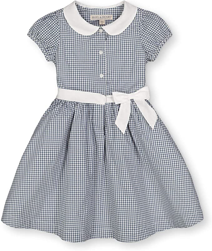 Vintage Style Children's Clothing: Girls, Boys, Baby, Toddler Hope & Henry Girls Short Sleeve Button Front Dress with Peter Pan Collar and Waist Sash $29.95 AT vintagedancer.com