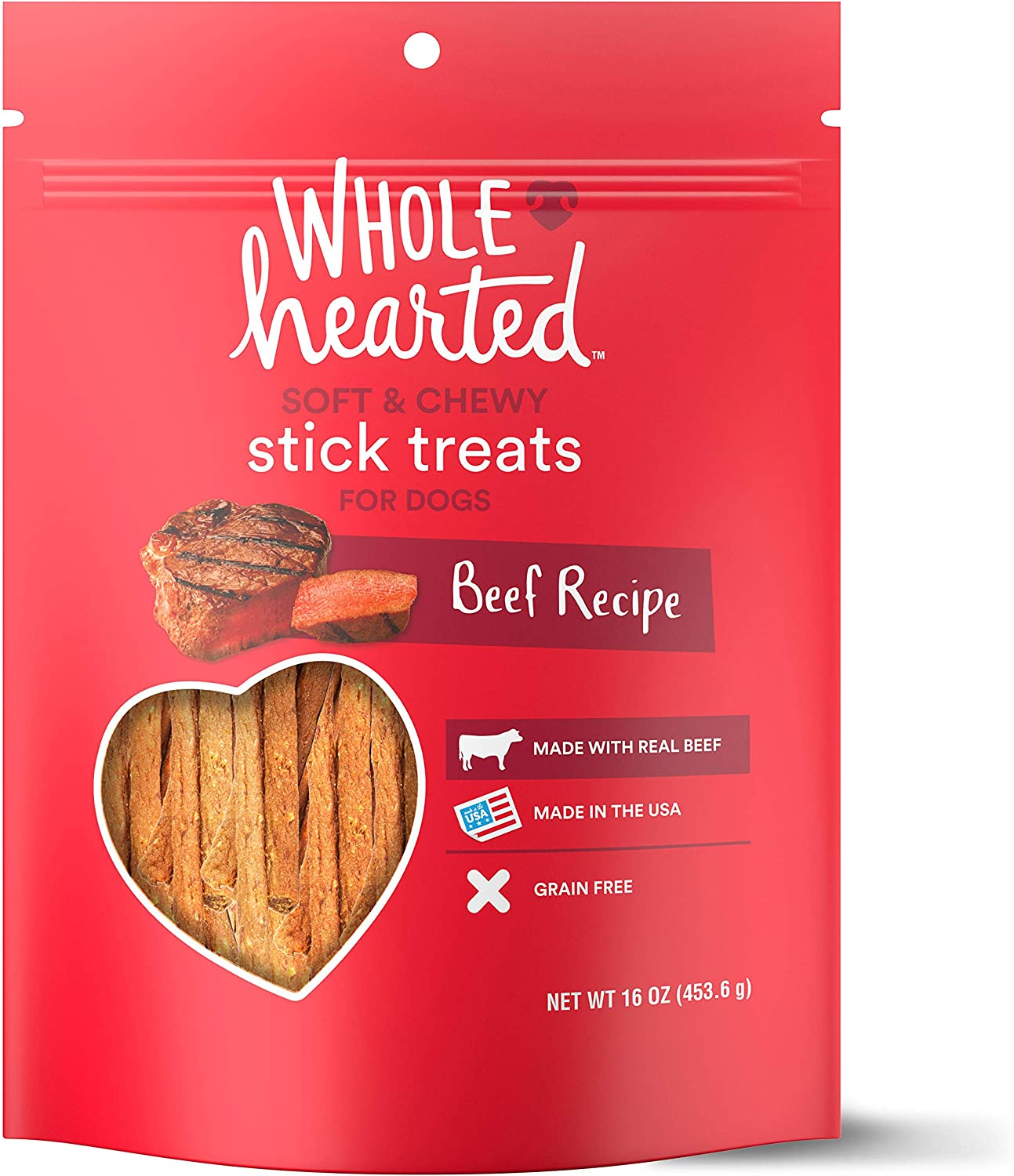 PETCO Brand - WholeHearted Grain Free Soft and Chewy Beef Recipe Dog Stick Treats, 16 oz