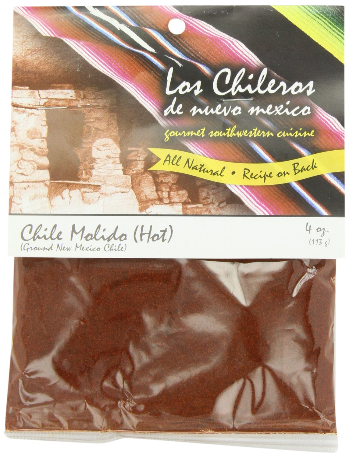 Los Chileros Chile Molido (Ground New Mexico Chile, Hot), 4-Ounce Packages (Pack of 12)