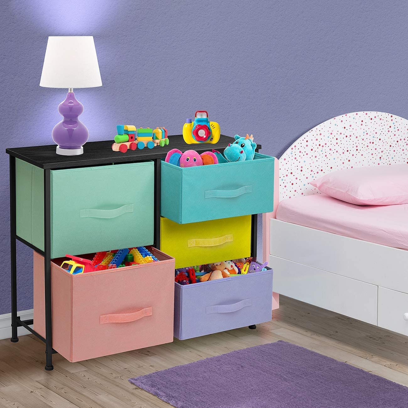 Closet Bedroom Clothes Furniture Storage Tower Chest for Kid/'s Teens Wood Top, Toy Organization Pastel//Black Nursery Sorbus Dresser with 5 Drawers Playroom Steel Frame