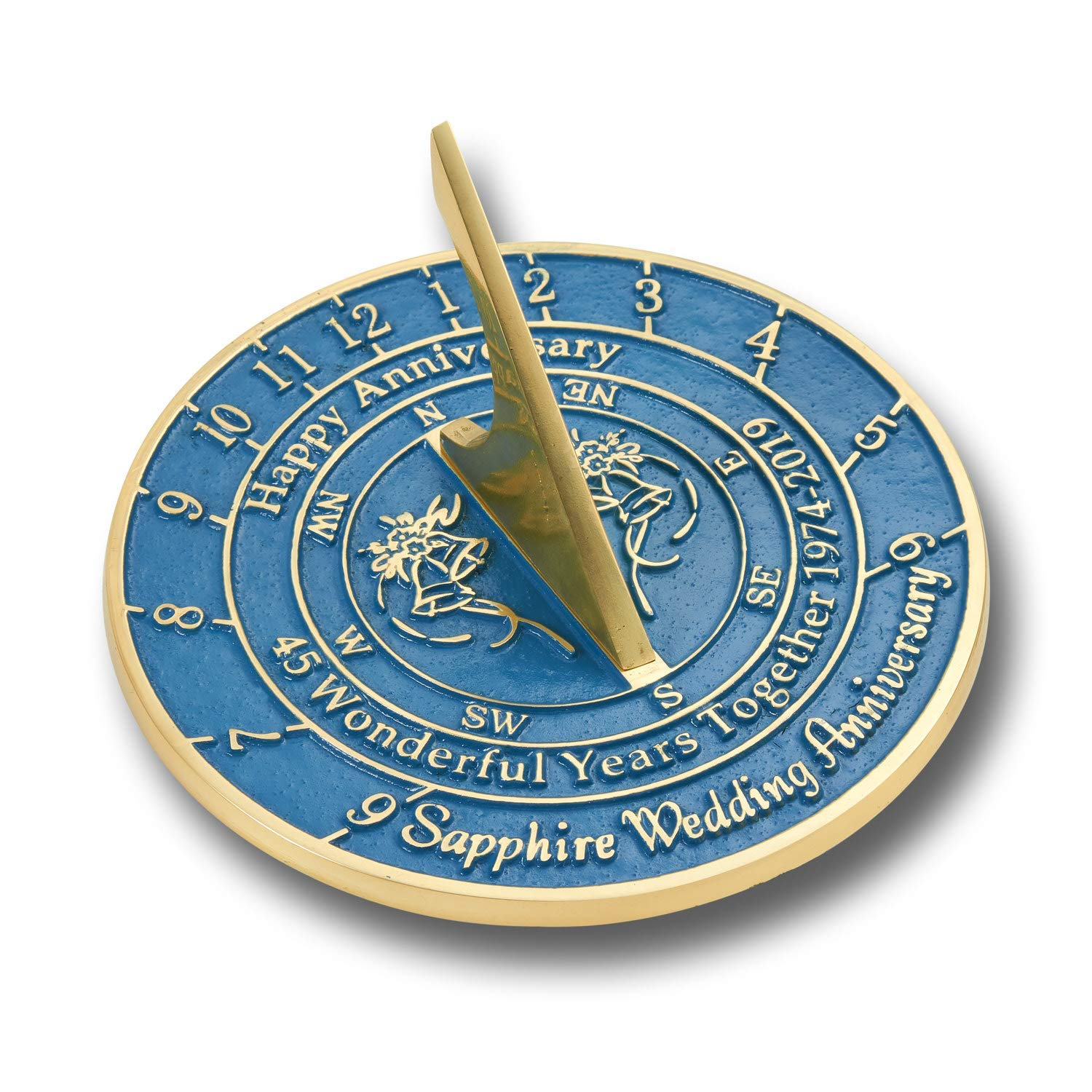 ANTIQUECOLLECTION 45th Sapphire Wedding Anniversary Sundial Gift