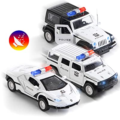 Top Race Metal Diecast Police Cars Pull Back Battery Powered with Led Headlights and Sirens 1:32 Scale Set of 3: Toys & Games