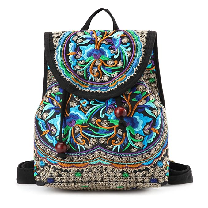 af65681d7ea9 Image Unavailable. Image not available for. Color  Goodhan Vintage Women  Embroidery Ethnic Backpack Travel Handbag Shoulder ...