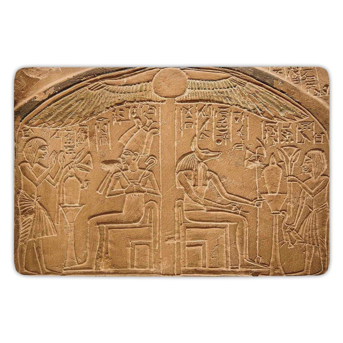 Bathroom Bath Rug Kitchen Floor Mat Carpet,Egyptian,Egyptian Hieroglyphs on the Wall Stone Surface Scripts Ancient Arts Theme Image,Light Brown,Flannel Microfiber Non-slip Soft Absorbent