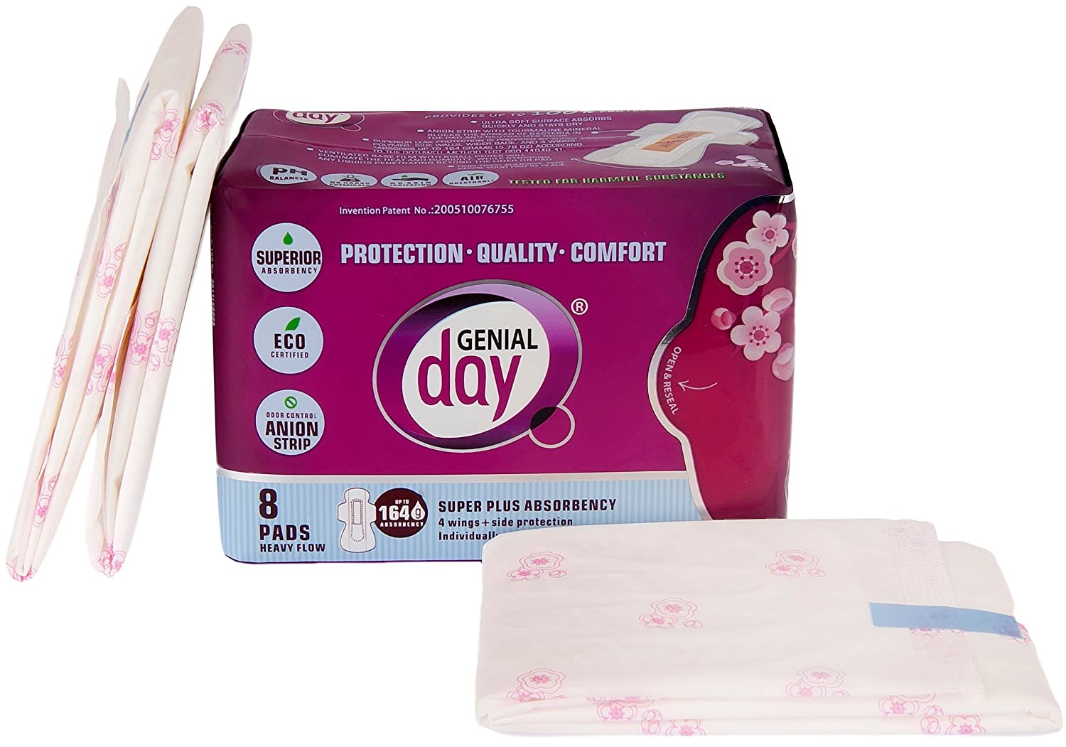 Amazon.com: Genial Day Organic Cotton Unscented Eco Certified Super Absorbency Pad With Wings Featuring Odor Control Anion Strip Heavy Flow - 3 Packs of 8 ...