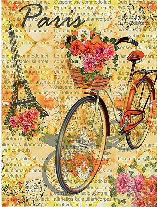 Family Flags, Torre Eiffel De París Retro con Flores De Bicicleta ...