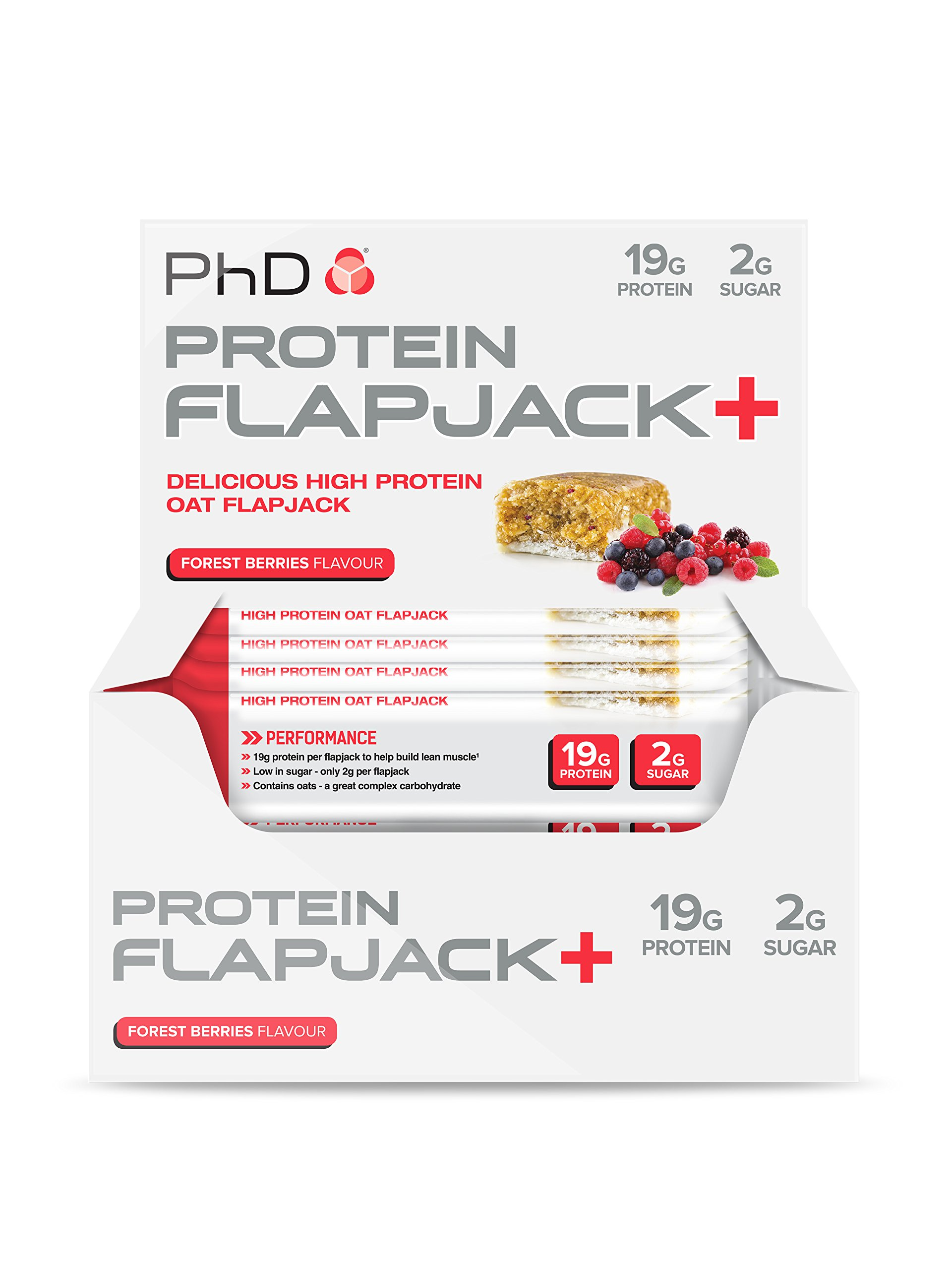 PhD Nutrition High Protein Flapjack+ Bars, Forest Berries, 75 g, Pack of 12 product image