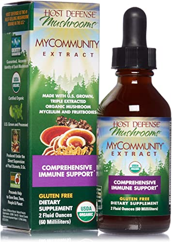 Host Defense, MyCommunity Extract, Advanced Immune Support, Mushroom Supplement with Lion s Mane, Reishi, Vegan, Organic, 2 oz 60 Servings