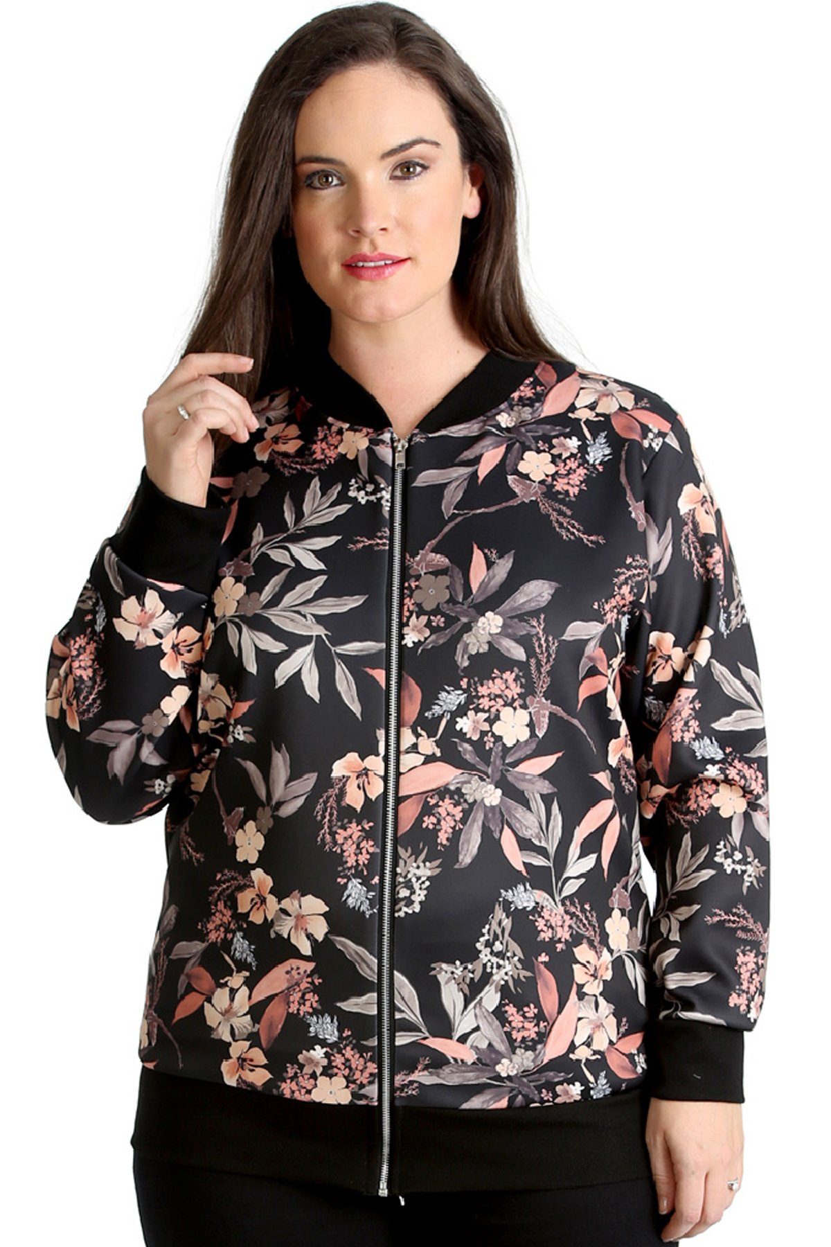Nouvelle Collection. Womens Plus Size Bomber Jacket Ladies Leaf Floral Print Coat Casual Zip Closure Ribbed Long Sleeve Black US Size 22-24
